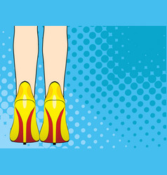 legs of woman in yellow shoes on high heels pop vector image