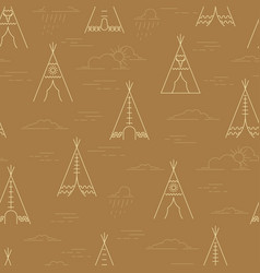 linear tepee and clouds pattern vector image