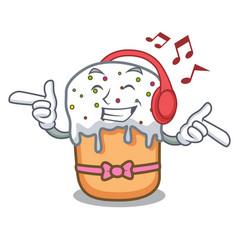Listening music easter cake mascot cartoon vector