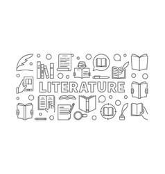 Literature horizontal minimal banner vector