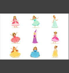 Little girls in princess costume in crown and vector
