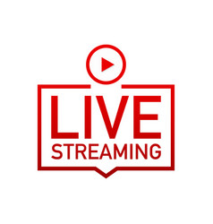 Live streaming flat logo - red design element vector