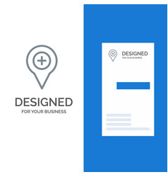 Location map navigation pin plus grey logo design vector