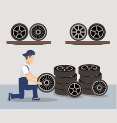 Mechanic worker with tyres wheels character vector