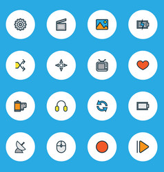 media icons colored line set with charging vector image