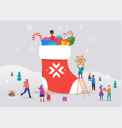 Merry christmas winter scene with a big red sock vector