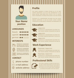 Modern flat male resume tempate with design vector