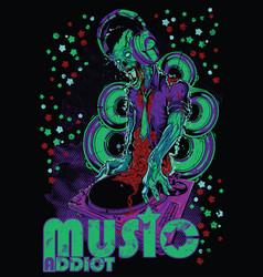 Music addict monster vector