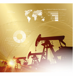 oil derrick infographic with stages of process oil vector image