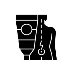 Ointment for back pain black glyph icon vector