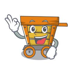 Okay wooden trolley character cartoon vector