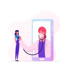 Online healthcare service doctor character in vector