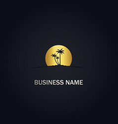palm tree sunset beach gold logo vector image