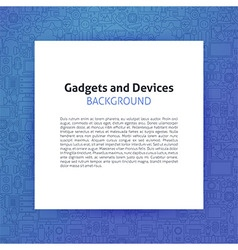 Paper over Gadgets and Devices Line Art Background vector