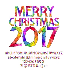 Patched rainbow Merry Christmas 2017 greeting card vector