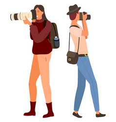 Photographer traveling and shooting camera vector
