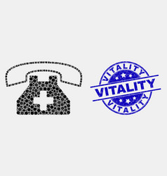 pixelated medical phone icon and grunge vector image