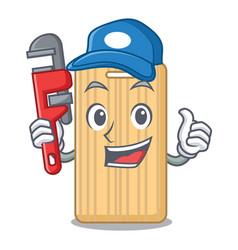 Plumber wooden cutting board mascot cartoon vector