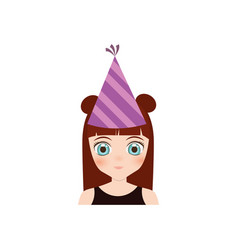 Portrait girl anime with party hat vector
