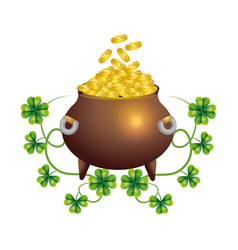 Pot gold clover and wealth vector