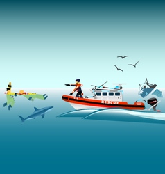 Rescuers on the boat vector