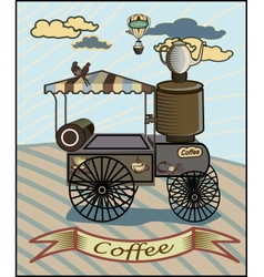 Retro banner with a cup of coffee and cars vector