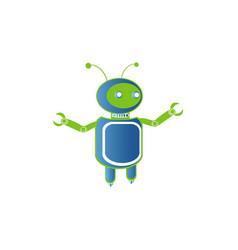 robot logo artificial intelligence badge for vector image