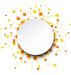 Round paper card over orange confetti vector