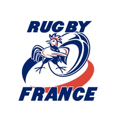 Rugby rooster cockerel france vector