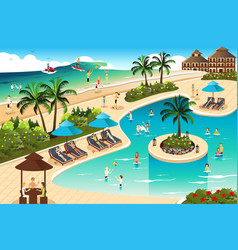 scene in a tropical resort vector image