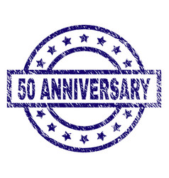Scratched textured 50 anniversary stamp seal vector