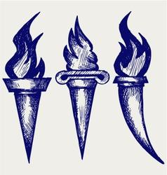 Set flaming torches vector