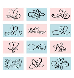 set of 12 lovers heart handmade vector image