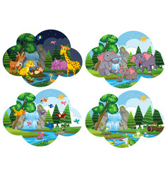 set of animals in scenes vector image