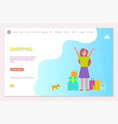 Shopping webpage template happy woman packages vector
