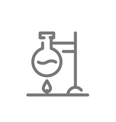 Simple chemical reaction line icon flask over vector
