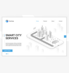smart city hologram on smartphone screen with vector image
