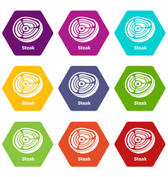 steak icons set 9 vector image