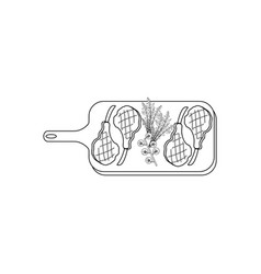 Steak meat on board coloring pages vector