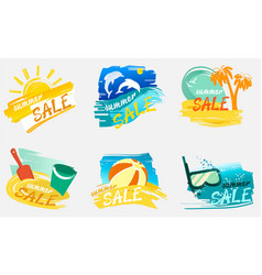 Summer sale banners with holiday design vector