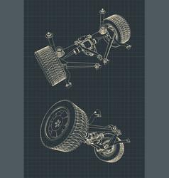 Suv suspension drawings vector