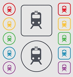 train icon sign symbol on the Round and square vector image