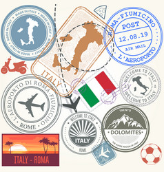 Travel stamps set - italy and rome journey symbols vector