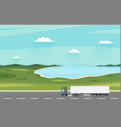 truck on the road summer rural landscape with vector image
