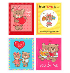 true love is an always support to you teddy girls vector image vector image