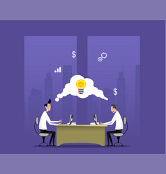 two businessmen work in night office vector image