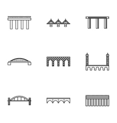 Types of bridges icons set outline style vector
