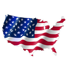 United states america map with waving flag vector