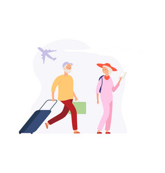vacation time elderly travellers with luggage vector image