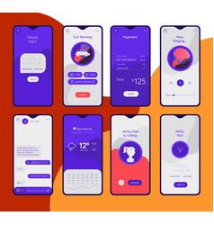 Various mobile app concepts trendy flat design vector